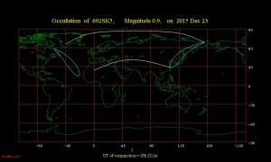 Región de visibilidad para la ocultación de Aldebarán por la Luna el 23 de diciembre de 2015