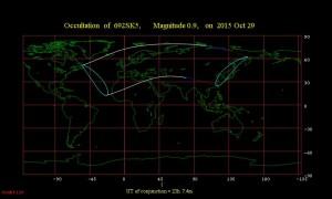 Región de visibilidad para la ocultación de Aldebarán por la Luna el 29 de octubre de 2015