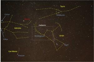 La misma fotografía anterior donde se identifican las principales constelaciones (amarillo) y las estrellas más brillantes (azul) y el planeta Marte (rojo). El recuadro señala la región de la imagen ampliada. Foto del autor.