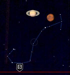Imagen tomada de la app SkyView donde se observa la misma imagen de Saturno y Marte junto con la constelación de Escorpión completa