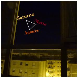 Triángulo aparente formado por Saturno, Marte y Antares