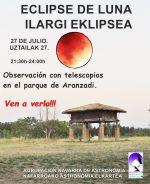 Observación pública del eclipse de Luna en Pamplona con la Agrupación Navarra de Astronomía.